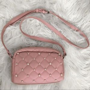 Pink crossbody purse with pearls ♡